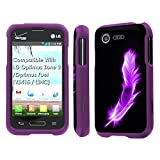 lg optimus fuel pouch - LG Optimus Zone 2 / Optimus Fuel [VS415 / L34C] Case, [NakedShield] [Purple] Total Armor Protection Case - [Pink Feather] for LG Optimus Zone 2 / Optimus Fuel [VS415 / L34C]