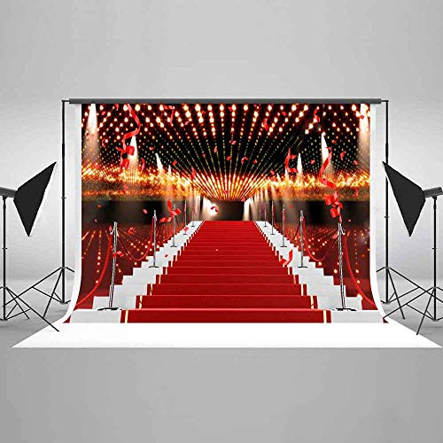 EARVO 7x5ft Red Carpet Stairs Photography Background Fashion Show Wedding Photo Portrait Cotton Backdrop (Wrinkle Resistance) Photo Shoot Props EALX002]()