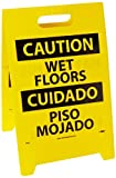 NMC FS26 Bilingual Double Sided Floor Sign, Legend ''CAUTION - WET FLOOR HAZARDOUS AREA'', 12'' Length x 20'' Height, Coroplast, Black on Yellow