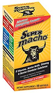 Super Macho Dietary Supplement with High Potency B Vitamins, No Preservatives, Sugar or Caffeine, Made in USA , 50 Softgels