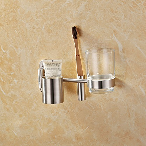 KES Swing Out Toothbrush Holder with Glass Tumbler Wall Mount SUS 304 Stainless Steel Bathroom Hardware Accessory Organizer Brushed Finish, BTS205-2