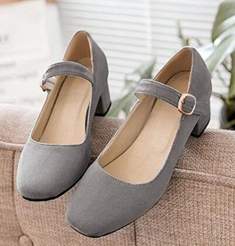Easemax Womens Elegant Faux Suede Buckle Strap Square Toe Low Top Mid Chunky Heel Pumps Shoes Gray rReYYD