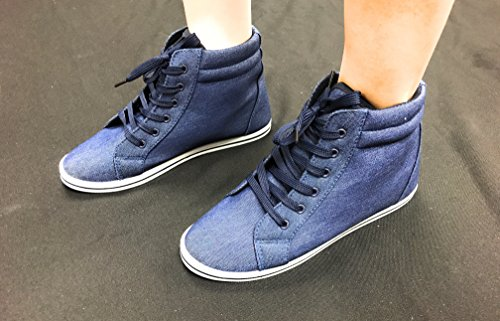Blue Berry Easy21 Womens Alta Cima In Tela Faux-fur Fashion Sneaker Denim21
