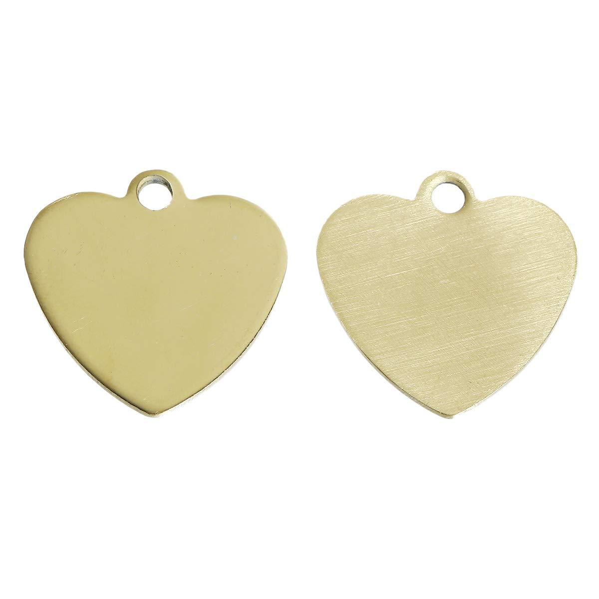 Gravurpl/ättchen DIY Schmuck Gold Geschenkidee, Sadingo Schmuckanh/änger Charms Blanko Herz 20 x 20 mm 1 St/ück