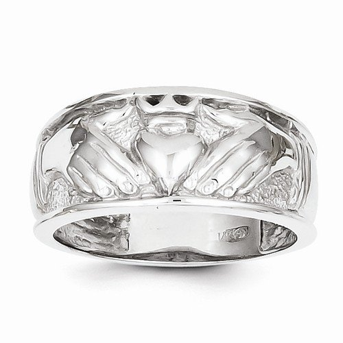 Size - 10 - Solid 14k White Gold Men's Claddagh Ring (24mm)