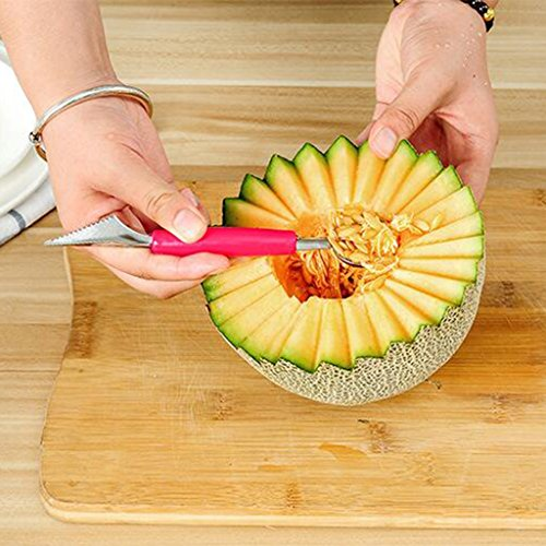 B Blesiya Carving Knive&Scoop Double Use for Fruit Vegetable Art Salad Kitchen Tool Dual-Purpose Melon Baller - Red by B Blesiya (Image #8)