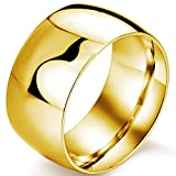 Mens 12mm Classic Gold Wedding Engagement 316L Stainless Steel Ring Dome High Polished Band Size 8
