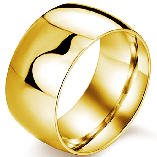 Mens 12mm Classic Gold Wedding Engagement 316L Stainless Steel Ring Dome High Polished Band Size 8 -