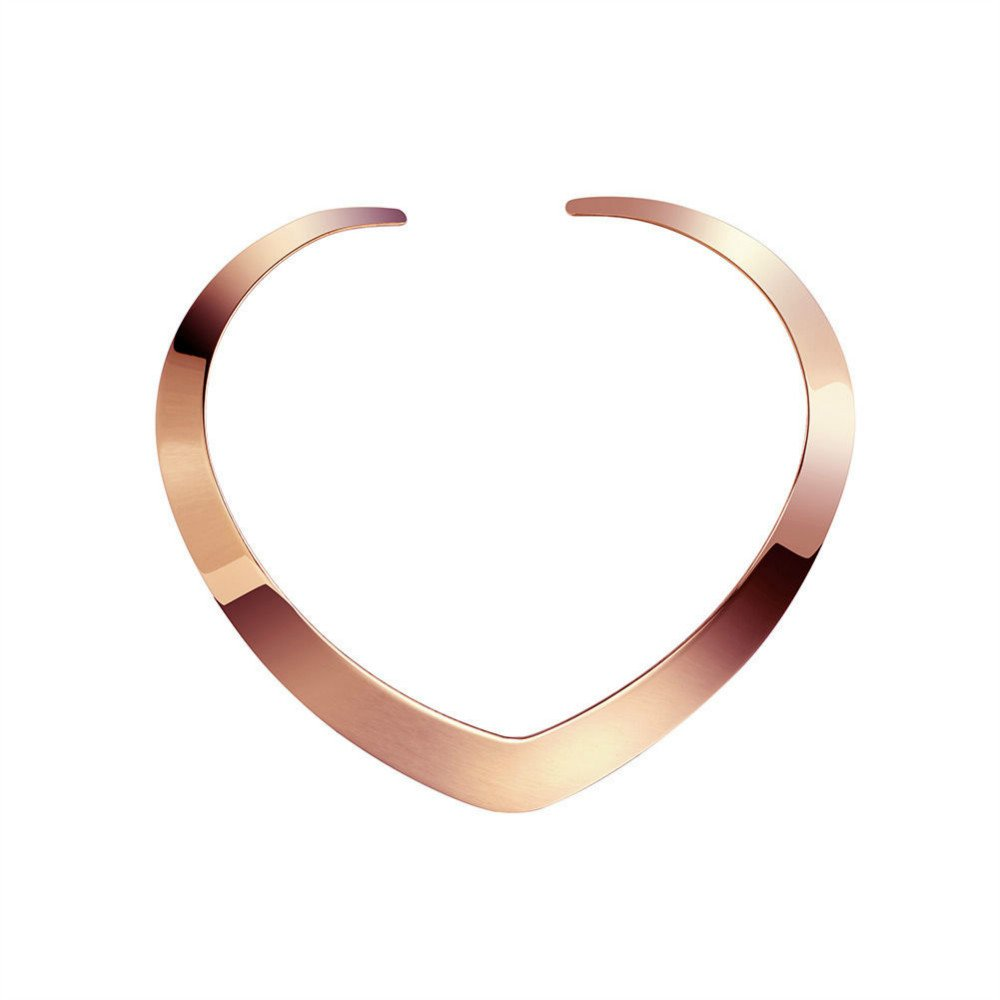 Gevanya High Polished Love Choker Heart Shape Tri-color Gold/Rose Gold/Silver Necklace in Stainless Steel (Rose Gold)