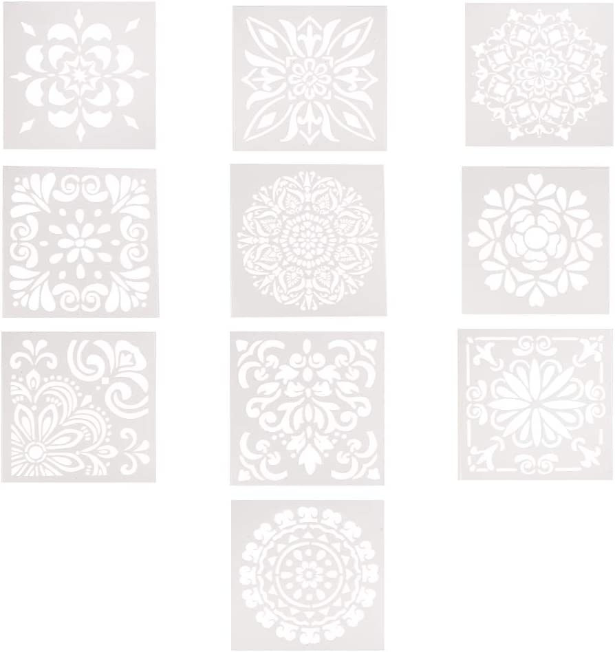 PH PandaHall 10 Pack 5.9 inch Plastic Flower Pattern Planner Stencils for Journal Scrapbooking Notebook Diary Card Art - DIY Drawing Painting Template Stencil