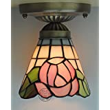 5-Inch Colored Glass American Pastoral Tiffany Ceiling Aisle Lights Hallway Lights - Pink Rose Style