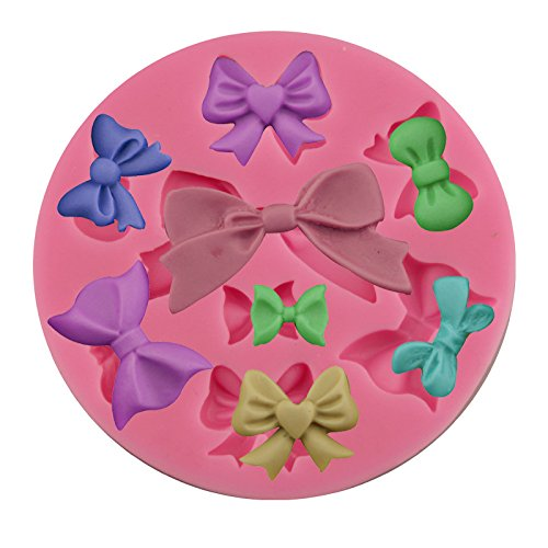 Efivs Arts 8 Mini Bows butterfly Silicone Mould Fondant Sugar edible Bow Craft Molds for Valentines Day gifts,DIY Cake Decorating 3.5