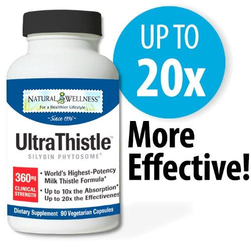UltraThistle Natural Wellness, 90 360 mg Capsules - Support & Protéger votre foie avec la formule Milk Thistle plus absorbable et efficace sur le marché
