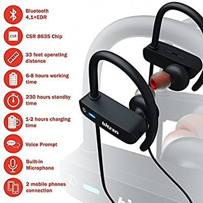 Wireless Headphones Bluetooth Sport Earbuds - Noise Cancelling IPX7 Waterproof Earphones with Microphone for Men and Women - 9 Hours Play Best for Gym Running Workout Jogging