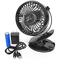 Kyoga Kool Black Portable USB Personal Fan, with Clip [Bonus AC Adapter]