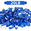 FutureWay Fire Glass 20 Pound - 1/2 Inch Fire Pit Glass for Indoor and Outdoor Natural or Propane Fire Pits Fireplaces, Cobalt Blue Reflective