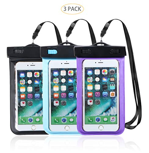 Hartop 3 Pack Waterproof Phone Pouch,Waterproof Cellphone Case Dry Bag for iPhone Xs Max/XR/X/8/8P/7/7P Galaxy up to 7.0