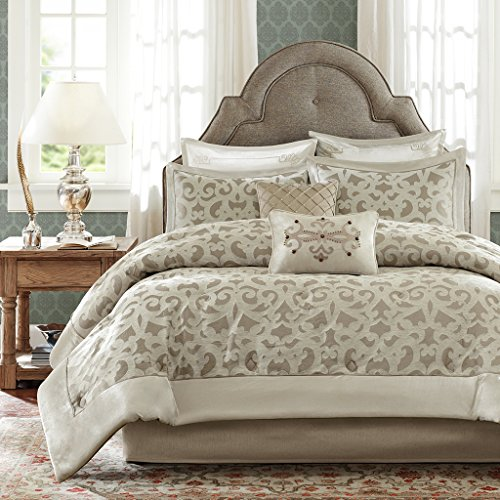 - MADISON PARK SIGNATURE Kingsley Queen Size Bed Comforter Set Bed in A Bag - Khaki, Jacquard Vine Fretwork - 8 Pieces Bedding Sets - Faux Velvet Bedroom Comforters