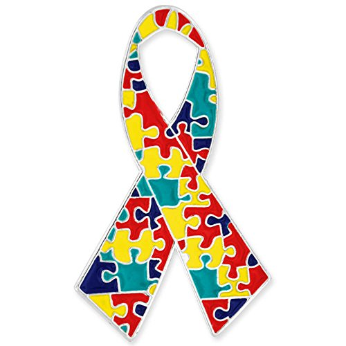 PinMart's Autism Awareness Ribbon Puzzle Piece Enamel Lapel Pin 1-1/4