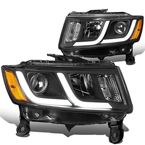 Grand Am Projector Headlights - DNA Motoring Black amber HL-HPL-JGC14-BK-AM Pair LED DRL Projector Headlight [for 14-16 Jeep Grand Cherokee]