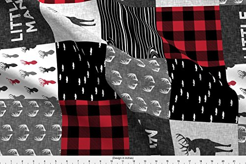 Spoonflower Patchwork Fabric - Patchwork Wholecloth Deer Little Man Buffalo Plaid Trendy Baby Boy - by Littlearrowdesign Printed on Lightweight Cotton Twill Fabric by The Yard