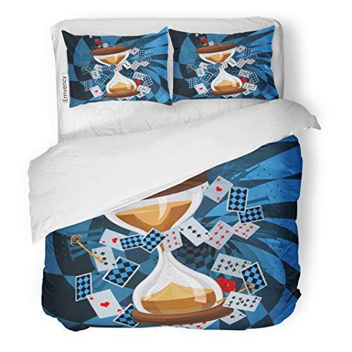 (Semtomn Decor Duvet Cover Set King Size Fairytale of Sand Clock Wonderland Alice Antique Cartoon Clip 3 Piece Brushed Microfiber Fabric Print Bedding Set)