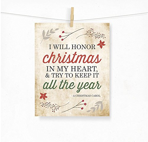 A Christmas Carol Charles Dickens Whimsical Holiday Typography Art Quote Print -