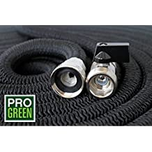 All New 2018 Heavy Duty 50' Expandable Garden Hose by Pro Green | Full Warranty | Water Hose Includes Nickel Plated Brass Fittings | Comes With 8 Pt Spray Nozzle (50, Black)