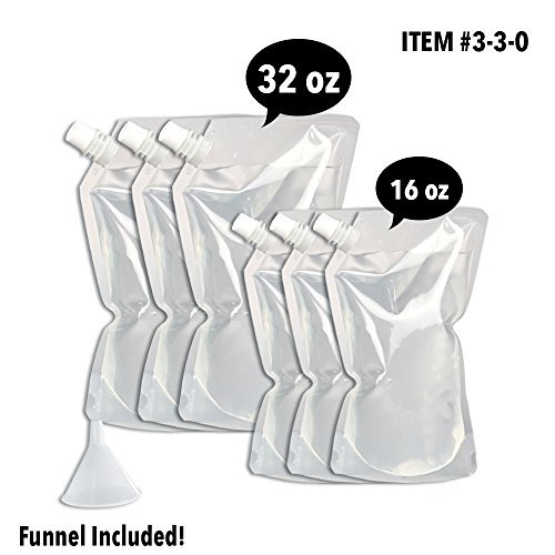Concealable And Reusable Cruise Flask Kit - Sneak Alcohol Anywhere - 3 x 32 oz + 3 x 16 oz + 1 funnel (Best Way To Drink On A Cruise)