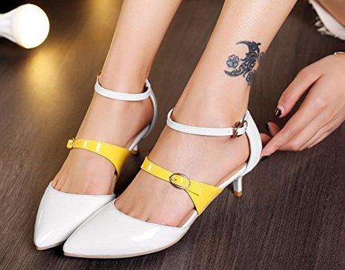 Boucles Bride Cheville Blanc Avec Femme Sexy Style Escarpins Aisun Pointue xq7aR4wvCn