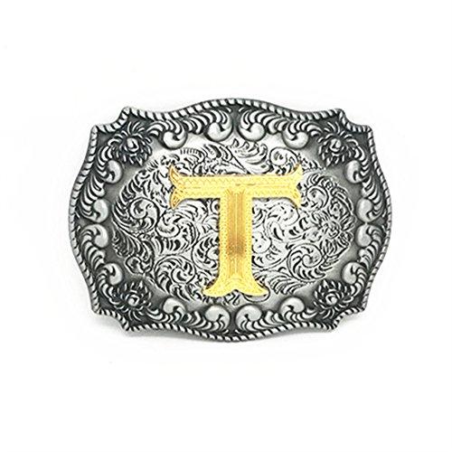KeCol Adult Mens Initial Letters Western Cowboy Alphabet Rodeo Belt Buckle Letter T