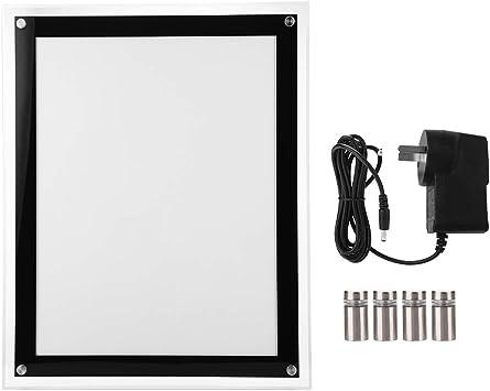 EBTOOLS Caja de Luz de Visualización de Publicidad Vertical de Cristal Acrílico Tablero Retroiluminado Marco de la Exhibición del Cartel LED (Enchufe de la UE 220V)(A3): Amazon.es: Hogar