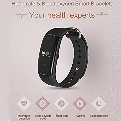 Bluetooth Smart Watch Bracelet Waterproof Black,Heart Rate Blood Oxygen Monitoring Tracker Wireless Activity Tracker Fitness Wristband with Sleep Calorie Counter Pedometer Monitoring for Android IOS