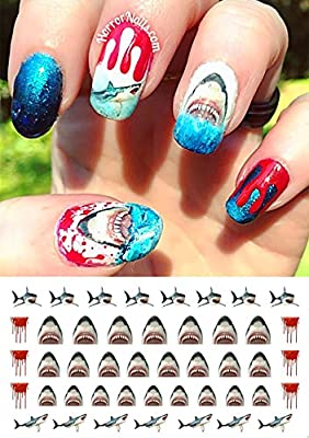 Great White Shark Set #1 - WaterSlide Nail Art Decals - Salon Quality! Celebrate Shark Week!