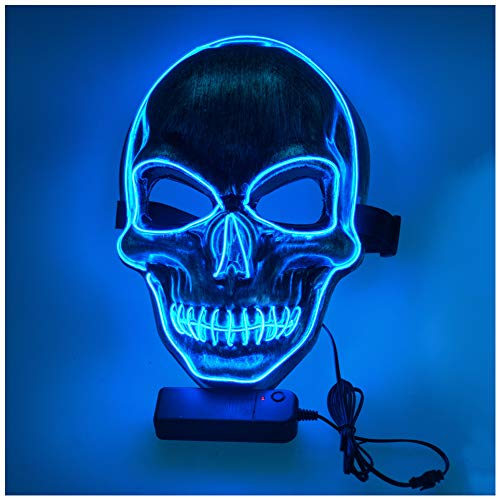 LED Halloween Mask Light Up Scary Skull Mask Purge Death Skull Mask,for Children Adults Halloween Costume Festival Parties Masquerade Parties Carnival Gifts
