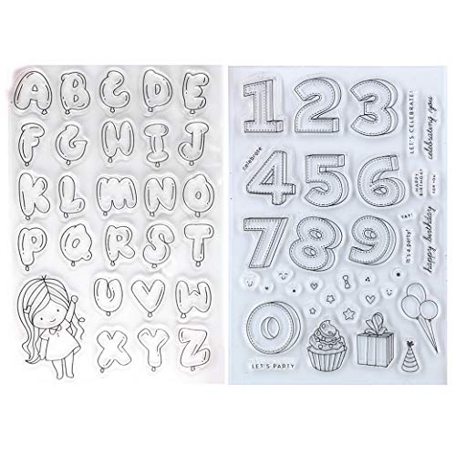 Kwan Crafts 2 Sheets Different Style Birthday Balloons Letters Numbers Cake Clear Stamps for Card Making Decoration and DIY Scrapbooking