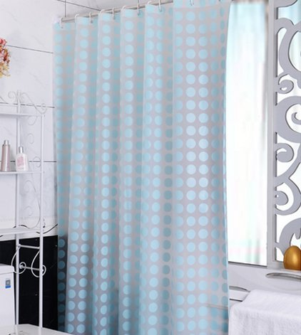 Eforgift Eco-friendly 100% PEVA Shower Curtain Liner Waterproof No Mold Bath Curtain Fade Resistant with Rustproof Grommets, Washable, Sky Blue, 36W x 72L (Blue Polka Dot Shower Curtain)