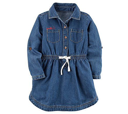 Carter's Girls' 2T-8 Long Sleeve Chambray Tie Front Dress 7
