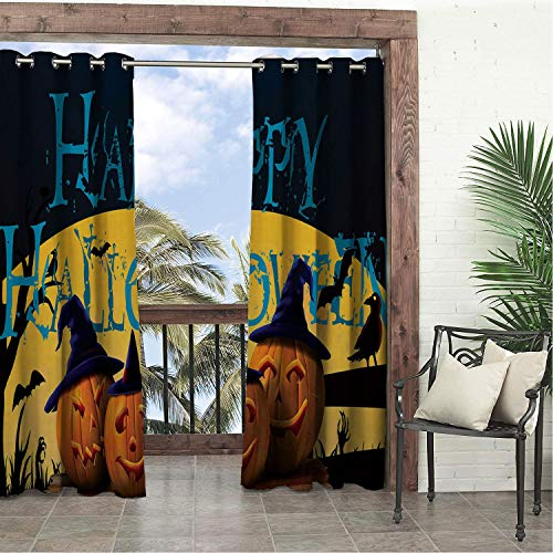 Garden Waterproof Curtains Happy Halloween Pumpk Lantern Multicolor Porch Grommets Decor Curtains 108 by 108 inch -