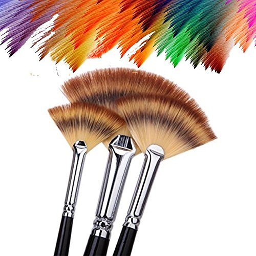 3 Acrylic Handle - Paint Brush Set Artist Fan Brush Wood Long Hands Painting Brush Set for Oil Paint Acrylic Paint 3 Pcs