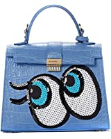 PLAYNOMORE Versatile Small Blue Tote Shoulder Handbag with Spangle and Automatic Lock for Women One Size Blue