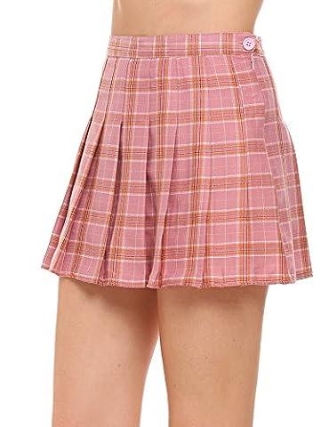 Chigant Plaid Skirt Women Stretchy Printed Pleated Skater Mini Skirts,Plaid-pink,Small - Pleated Plaid Mini