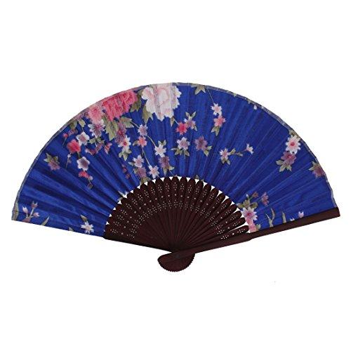 Wooden Fabric Frame Flower Pattern Party Wedding Folding Hand Fan Blue