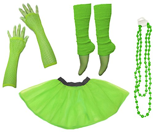 Ladies Neon UV Tutu Set Skirt Gloves Leg Warmers Beads 80s Costume Size 2-18 (US 2-10 (UK 6-14), Neon Green) - Cheap Couples Fancy Dress Costumes Uk
