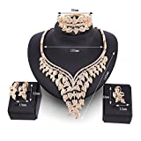 EVERRICH Crystals Bridal Flower Circle Tear Drop Rose Gold Plated Earring Necklace Wedding Engagement Jewelry Sets,4 Pairs