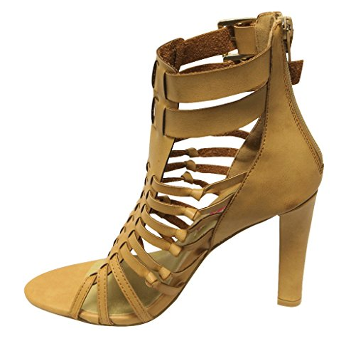 C Label Vince-5 Womens High heel buckled ankle Multi straps Back Zippers PU sandals Natural DSa4XG