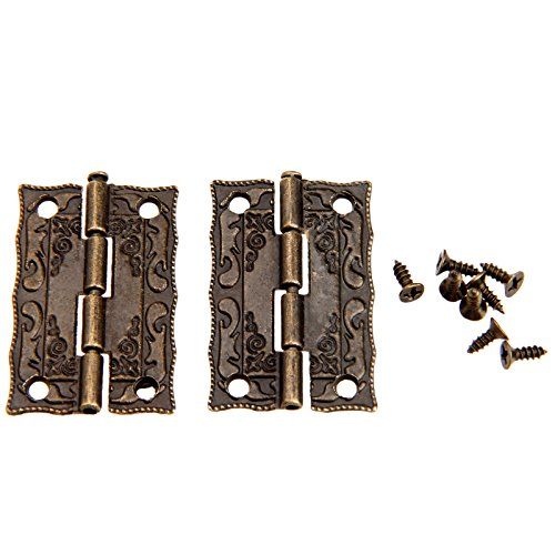 Dophee 2Pcs 36x23mm Antique Embossing Hinges Wooden Furniture Jewelry Box Hardware Cupboard Wardrobe Hinges