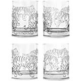 Mignon Faget Tiger, Tiger Double Old Fashioned Glasses, Set of 4