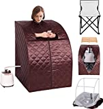 K&A Company Portable 2l Steam Sauna Spa Full Body Slimming Loss Weight with Chair Coffee