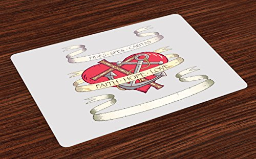 Ambesonne Hope Place Mats Set of 4, Antique Anchor and Spiritual Symbol on Heart Motif with Faith Hope Love Quote, Washable Fabric Placemats for Dining Room Kitchen Table Decor, Ruby Grey Beige by Ambesonne